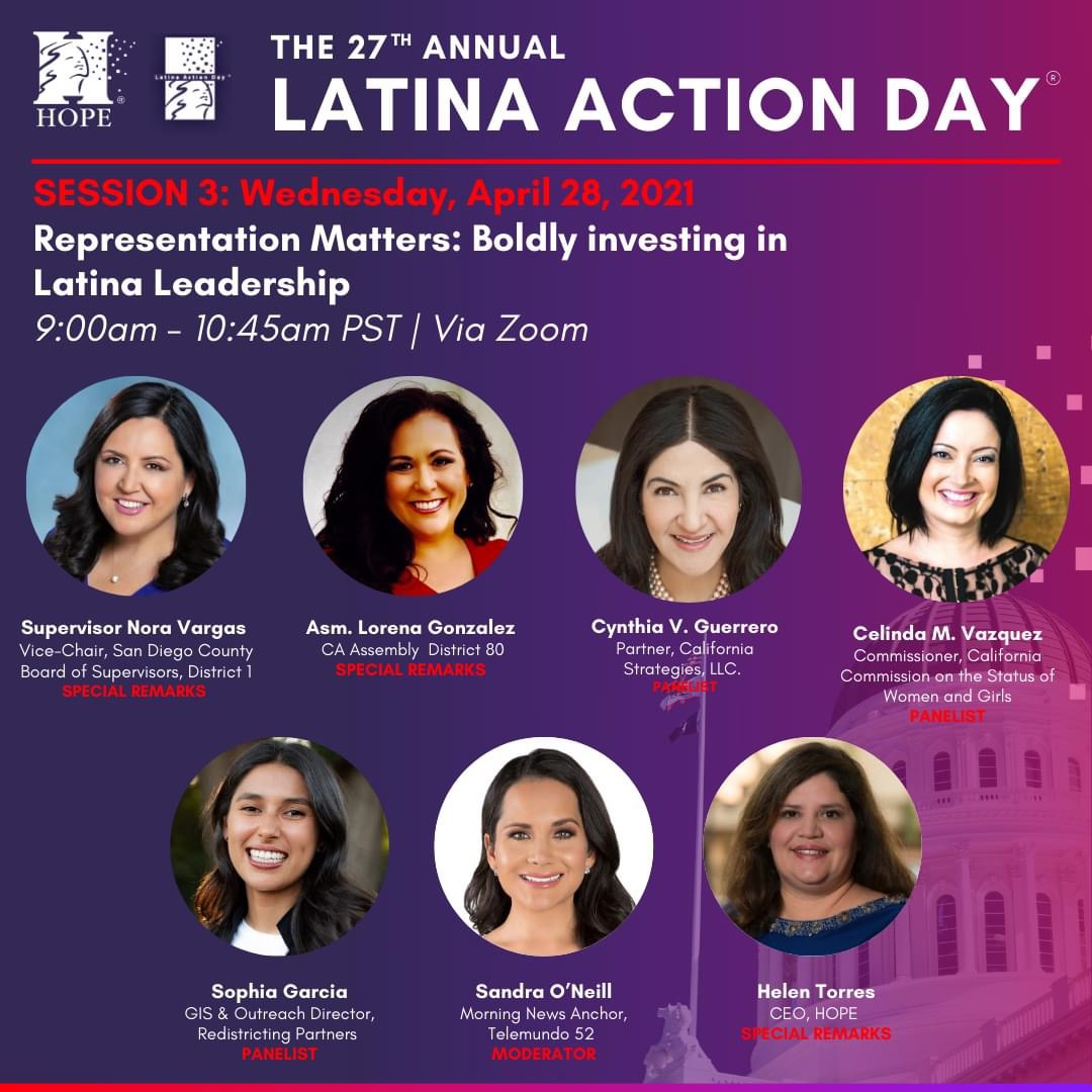 California Strategies Partner Cynthia Guerrero to participate in The 27thAnnual Latina Action Day this Wednesday, April 28th.